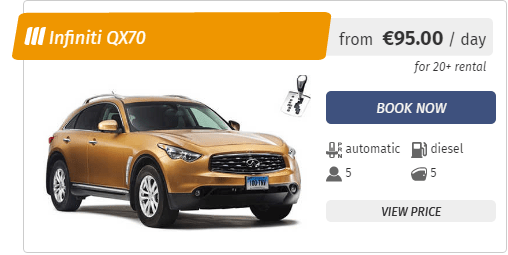 Infinity QX70 luxury rent a car in Sofia